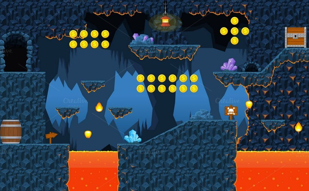 Lava Cave Platformer Tileset By Pzuh On Creative Market