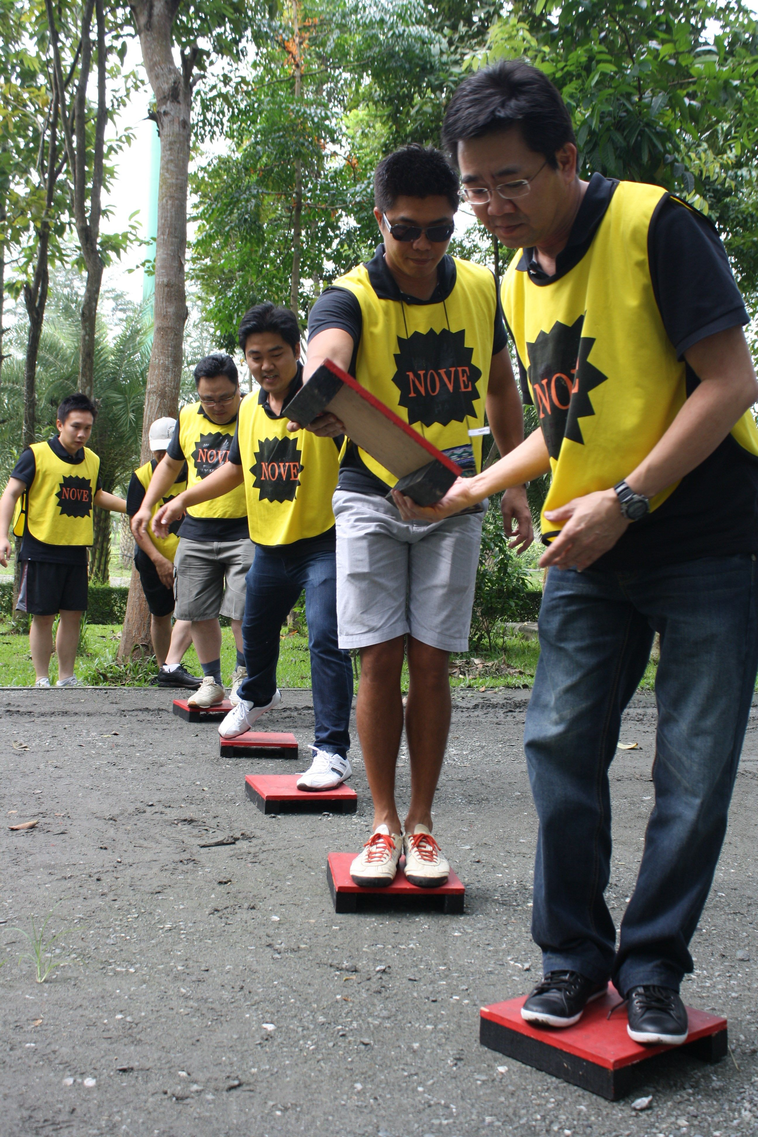 Camping games a team building activity on a track of the