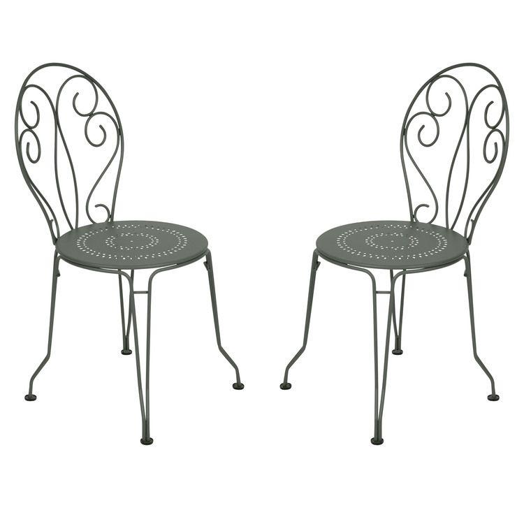 Chaise de jardin empilable en acier - assise perforée (par 2