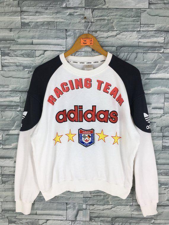 997f663e6c4cb Vintage 80s ADIDAS Sweatshirt Medium Adidas Racing Team Run Dmc ...