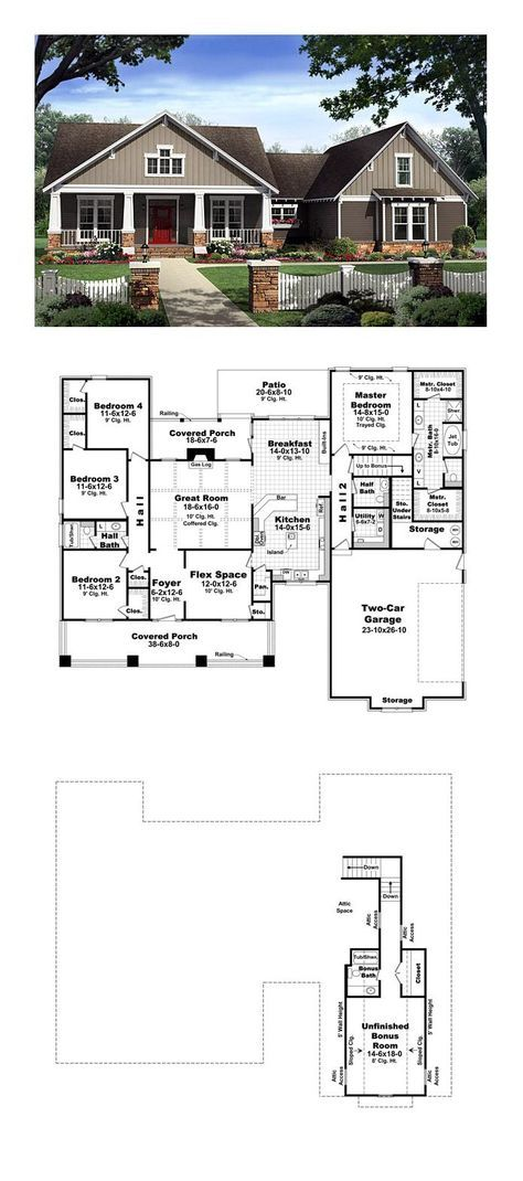 Craftsman Style House Plan 59198 with 4 Bed, 3 Bath, 2 Car ...