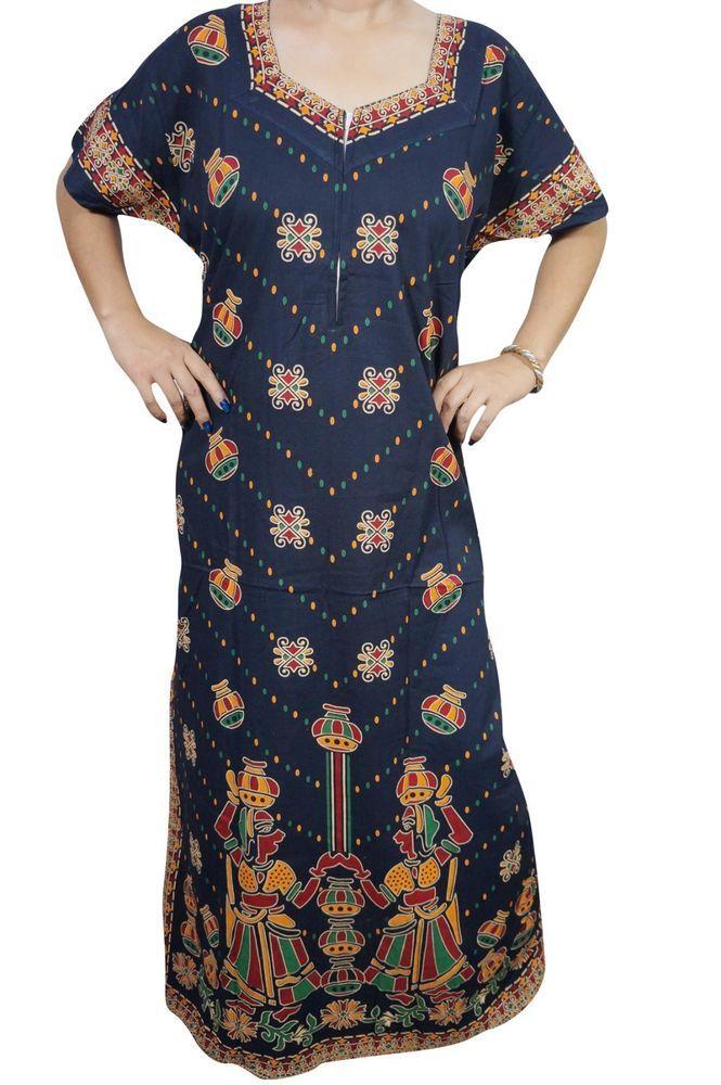 61c1841bf Indiatrendzs Women Maxi Nighty Indian Art Printed Blue Cotton Sleepwear  Gown 48