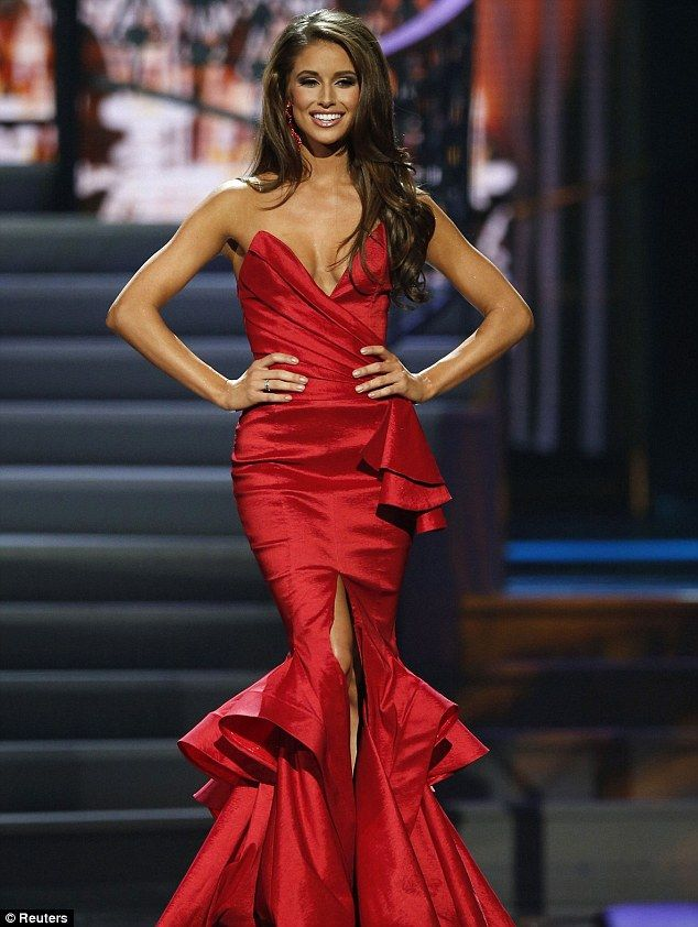 Strutting her stuff: Miss Nevada Nia Sanchez takes the runway during the evening gown port...