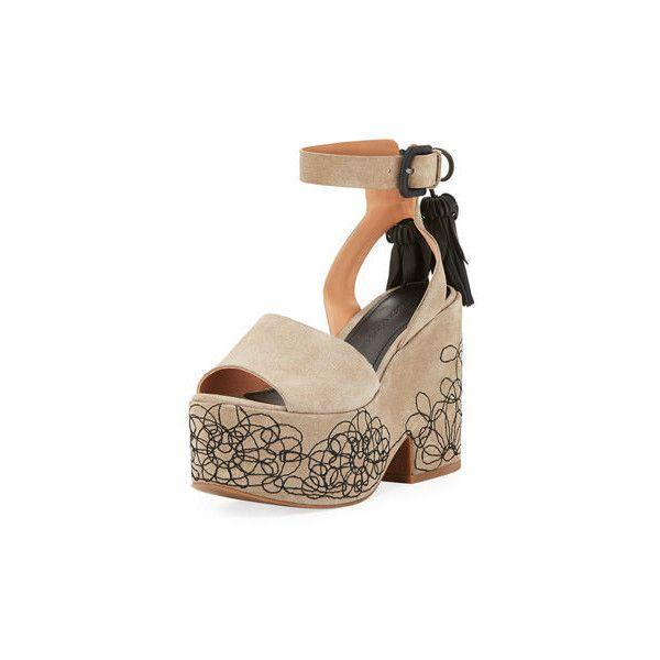 Sigerson Morrison Beia Suede Platform Sandal ($350) ❤ liked on Polyvore featuring shoes, sandals, beige, shoes sandals, beige sandals, beige shoes, sigerson morrison sandals, open toe shoes and suede platform sandals