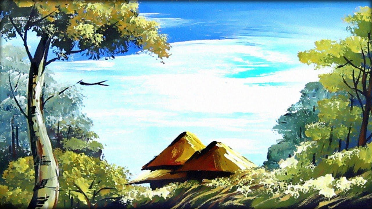 Village Scenery Drawing Nature Painting For Kids Landscape Paintings Acrylic Nature Paintings Painting