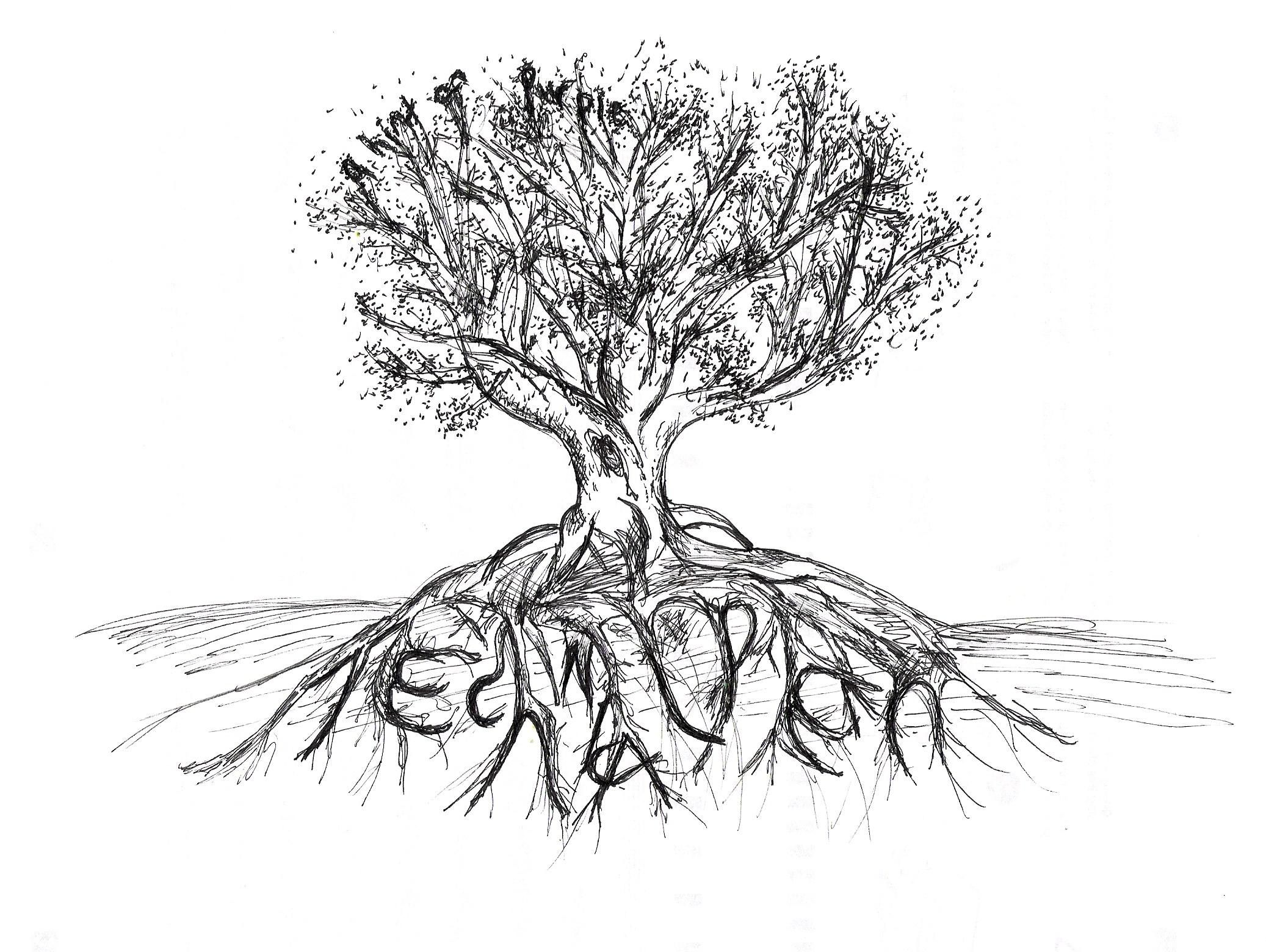 Tree With Roots Edit By Ahintofpurple D4ajx43 Roots Drawing Ink Illustrations Tree Images