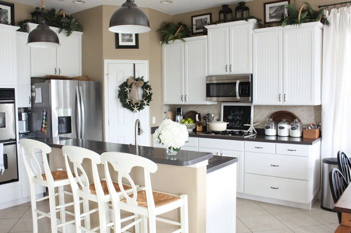Greenery Above Kitchen Cabinets Greenery above kitchen cabinets ideas in white painted cabinets