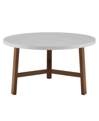 Walker Edison 30 Inch Round Coffee Table In Faux White Marble And