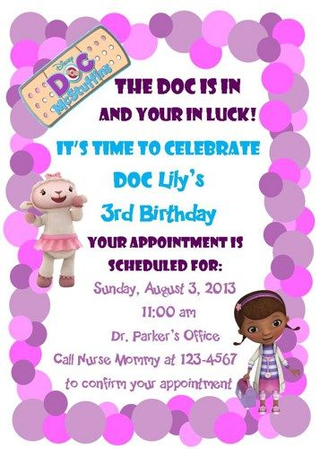 Doc mcstuffins birthday invitation syndle pinterest doc doc mcstuffins birthday invitation filmwisefo