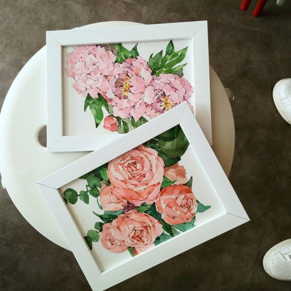 장미 작약 모란 핑크 꽃그림