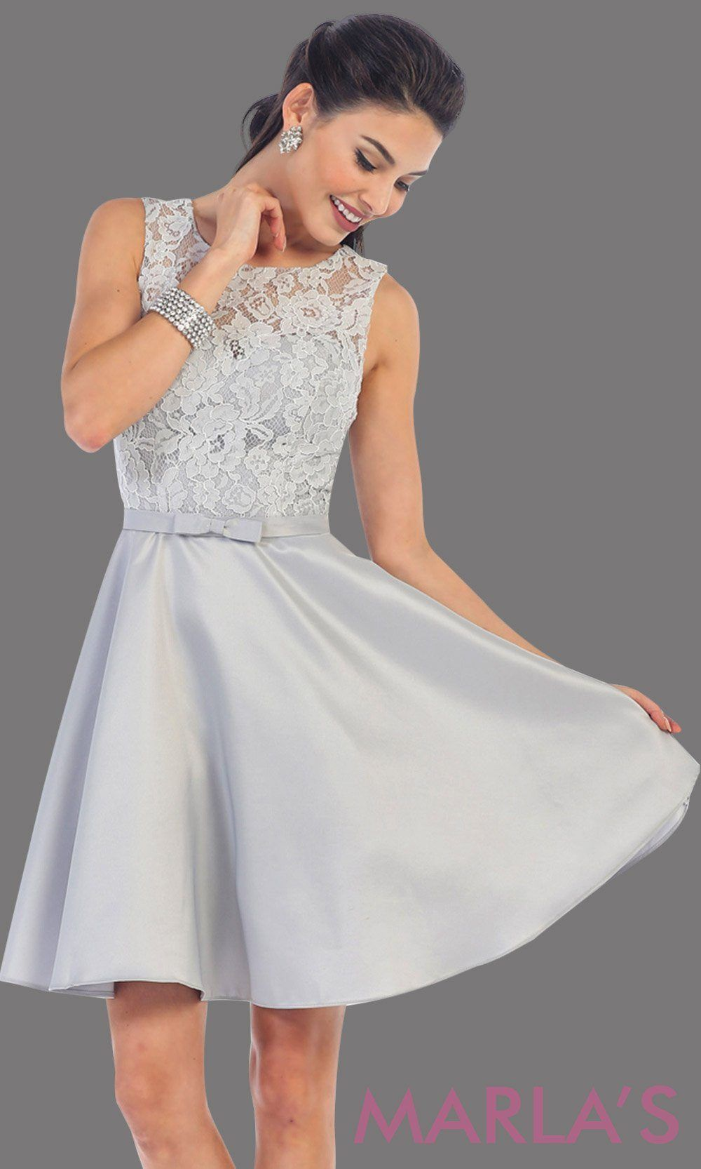 Short simple semi formal ligth gray dress with lace bodice and satin skirt.  Light silver dress is perfect for grade 8 grad 56ef55ce7