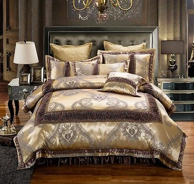 Golden Brown Luxury Jacquard Duvet Cover 6pcs Bedding Set King Amp Queen Size Luxury Bedding Bedding Sets Queen Size Bed Sets