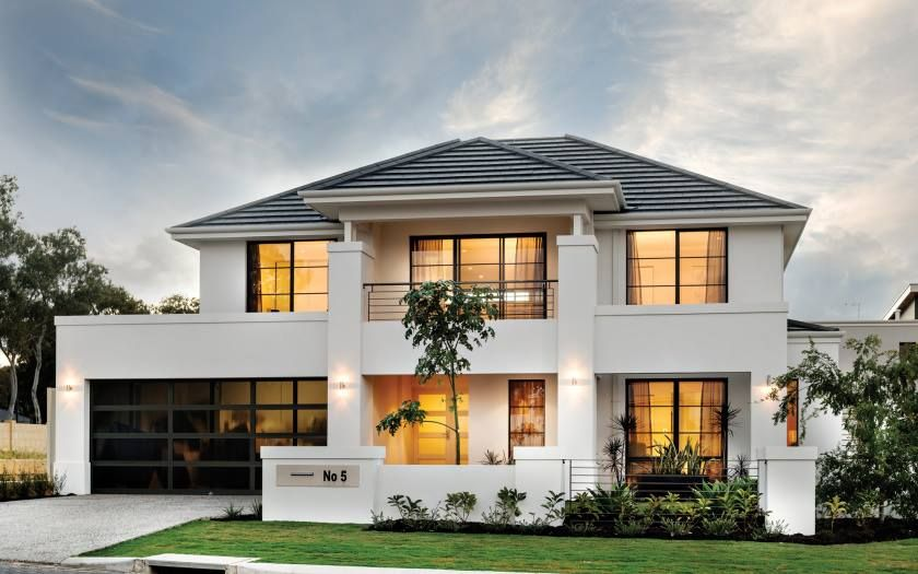 White House Facade House Double Story House Storey Homes