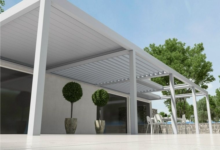 Pergolas de aluminio o madera 60 ideas modernas pergona for Cobertizo de madera de jardin contemporaneo