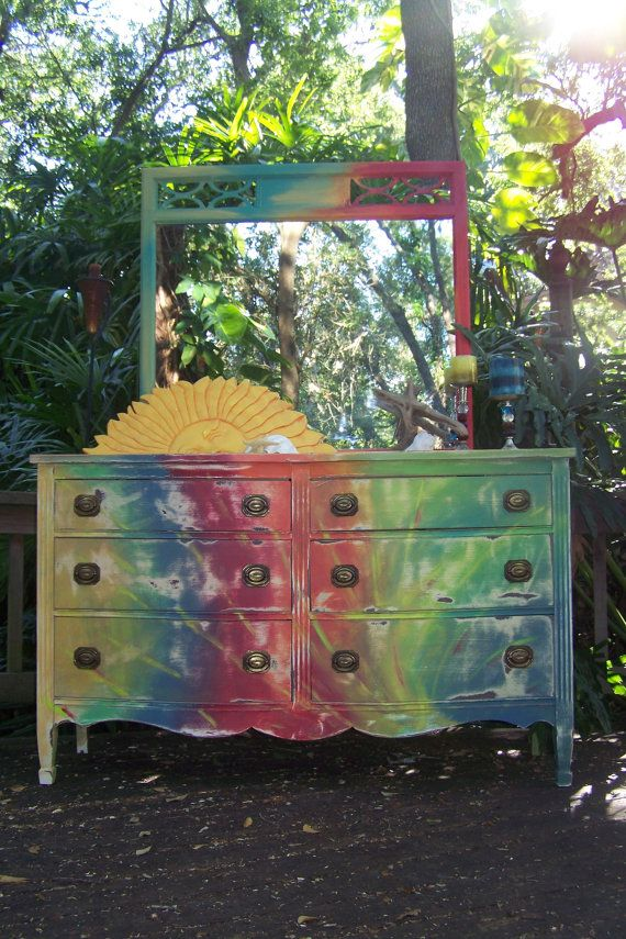 So creative tie dye dresser with mirror painted for Tie dye room ideas