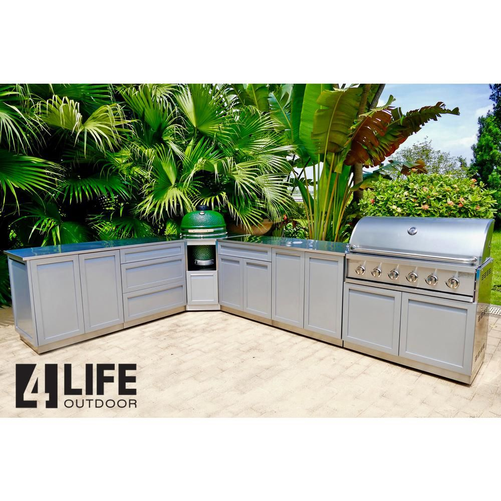 4 Life Outdoor Stainless Steel 8 Piece 207 X 37 X 37 In Outdoor Kitchen Grill And Kamado Cabinet Set With Powder Coated Doors In Gray G40044 The Home Depot Outdoor Kitchen
