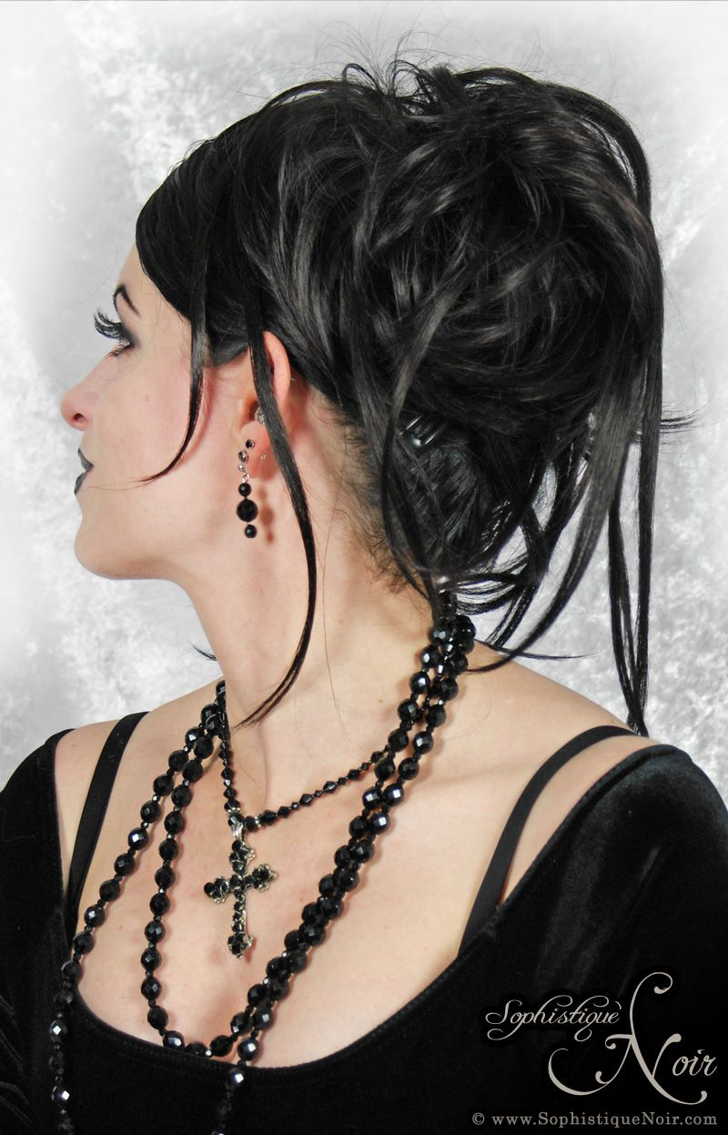 clip-in hair pieces help create an old school goth look without