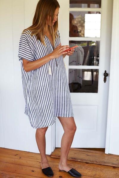 Tassel Caftan - Grey Stripe