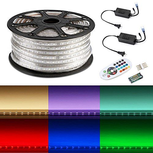 Le 164ft Flexible Led Strip Lights Rgb 3000 Units Smd 5050 Leds 720lm M 110 120 V Ac Color Changing Waterproof Ip65 Acc Strip Lighting Rgb Led Strip Lights Led Rope Lights