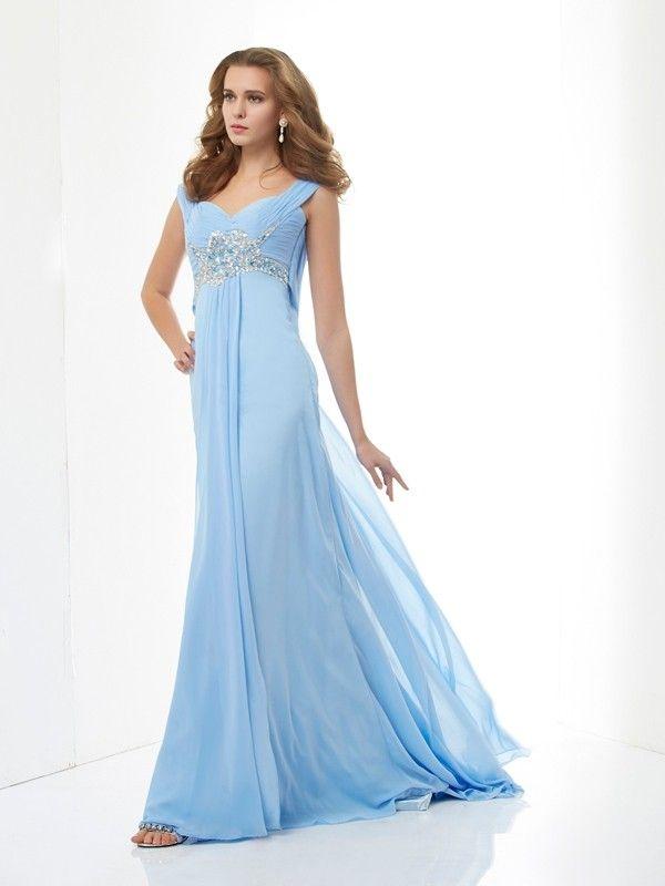 5ea829fbb15 A-Line Princess Sleeveless Beading Sweetheart Long Chiffon Dresses - Prom  Dresses - Hebeos Online