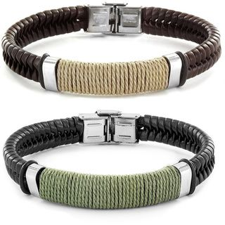 Crucible Stainless Steel Brown or Black Leather Bracelet with Wrapped Twine Center - Overstock™ Shopping - Big Discounts on West Coast Jewelry Men's Bracelets