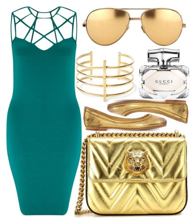 """Luxury Turquoise"" by egordon2 ❤ liked on Polyvore featuring Gucci, Miss Selfridge, BauXo, Linda Farrow, gold and teal"