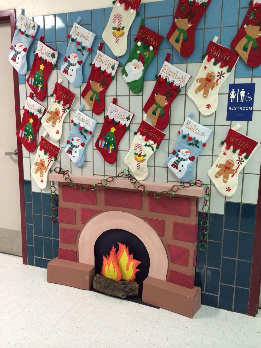 Fireplace Classroom Christmas Decorations Christmas Classroom