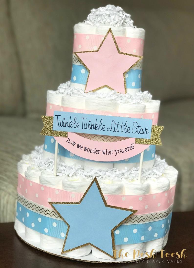 Twinkle Twinkle Gender Reveal Diaper Cake Pink Blue Gold Etsy In 2021 Twinkle Twinkle Gender Reveal Baby Diaper Cake Diaper Cake