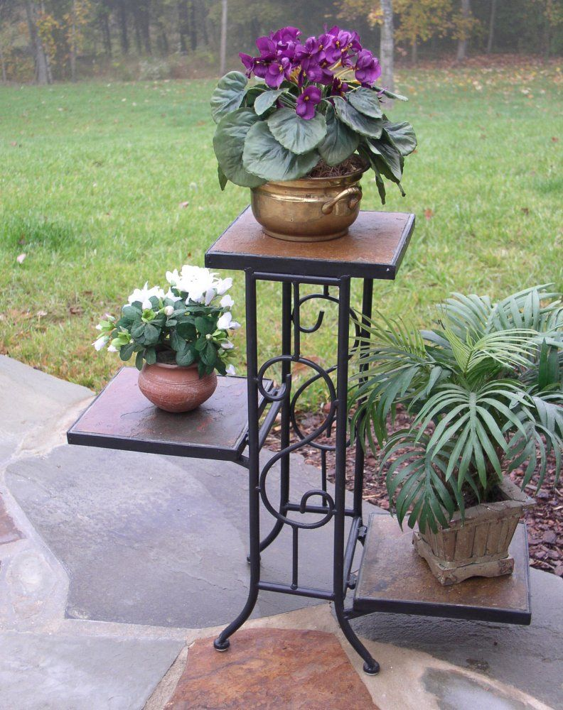 3 Tier Plant Stand With Slate Top 4d Concepts 601608