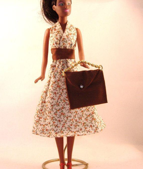 Handmade Barbie Halter Dress  Brown & Rust by debbisdresses, $6.50