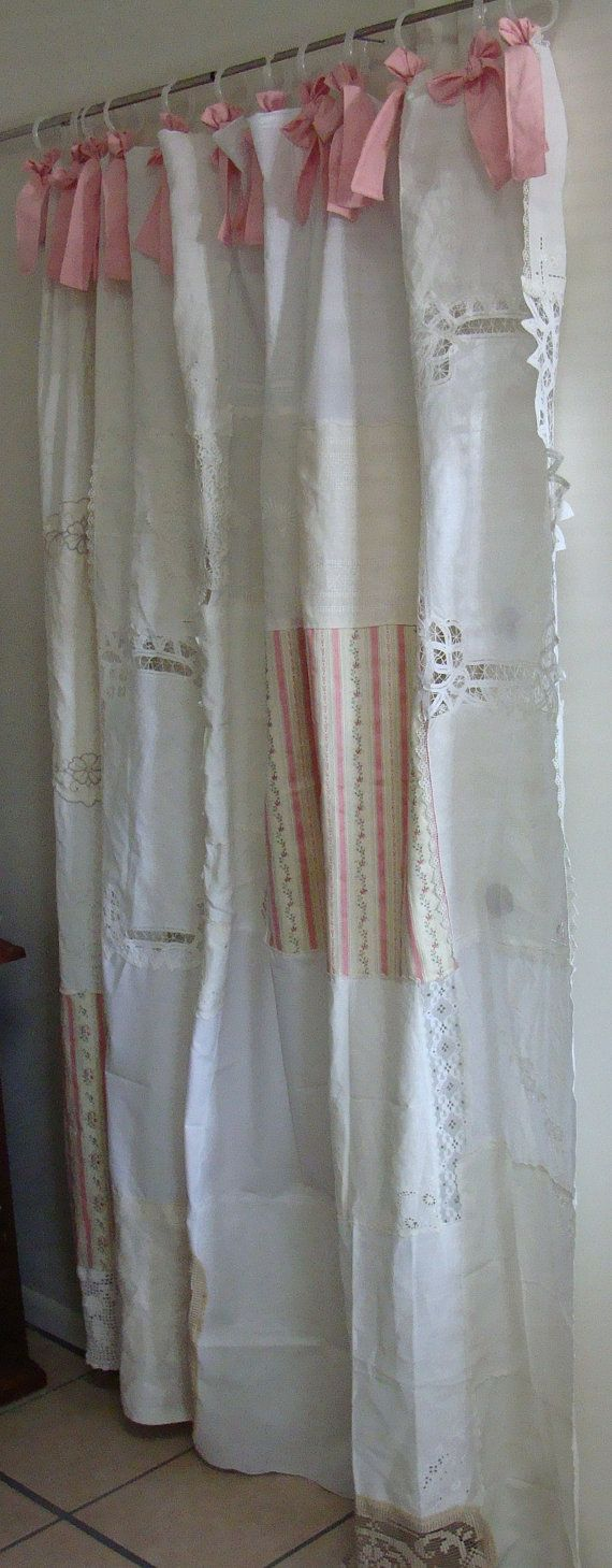 Shabby Chic Shower Curtain Vintage By BohoBagsNThings On Etsy