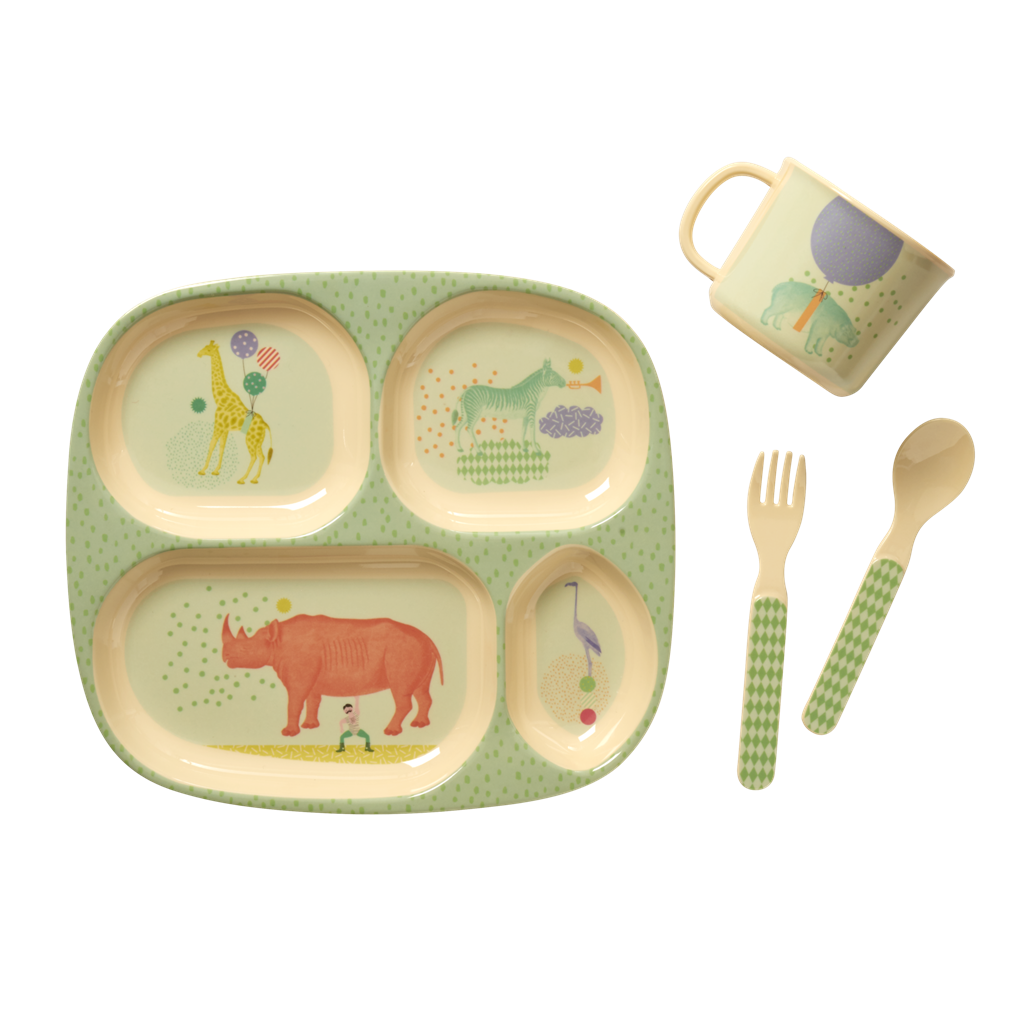 Baby 4 Piece Melamine Dinner Set In Gift Box By Rice