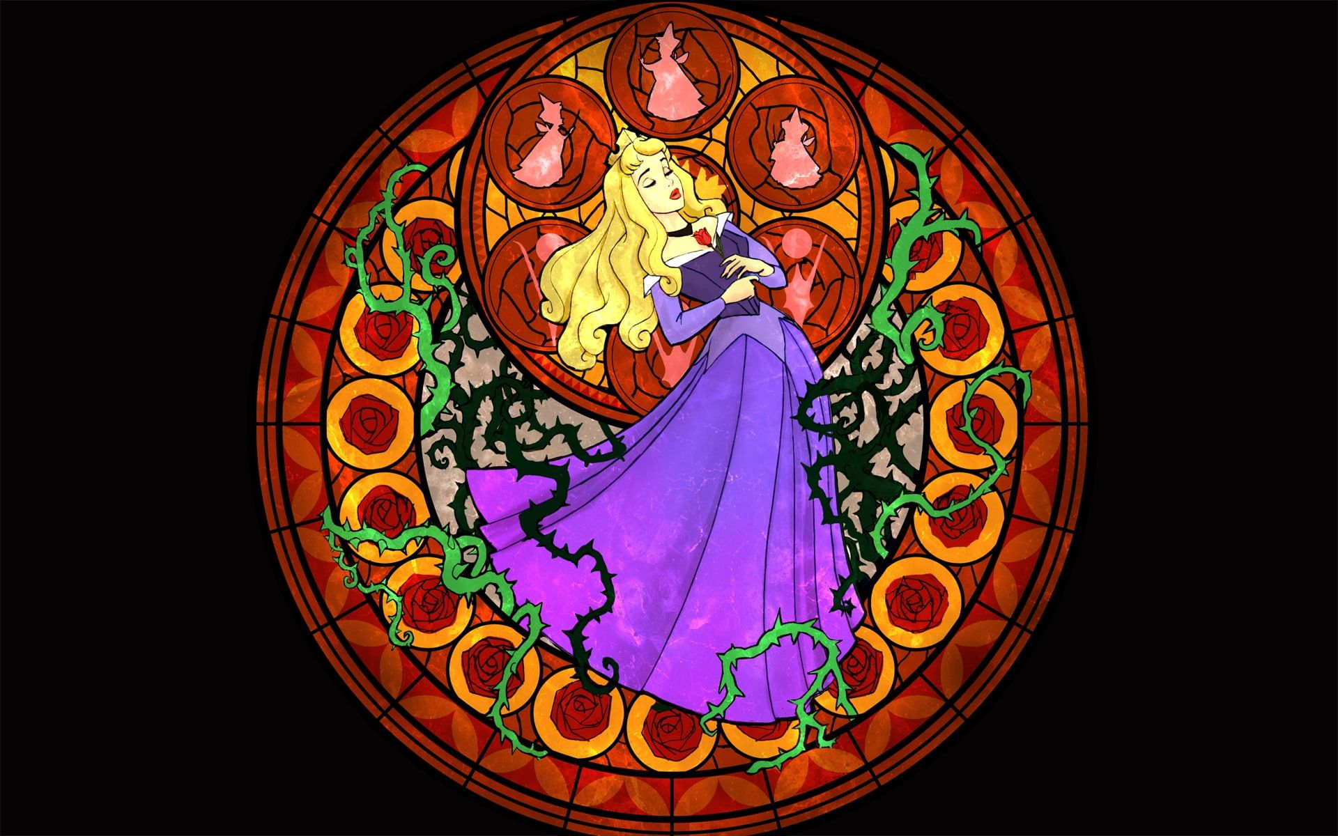 kingdom hearts sleeping beauty stained glass 1920x1200