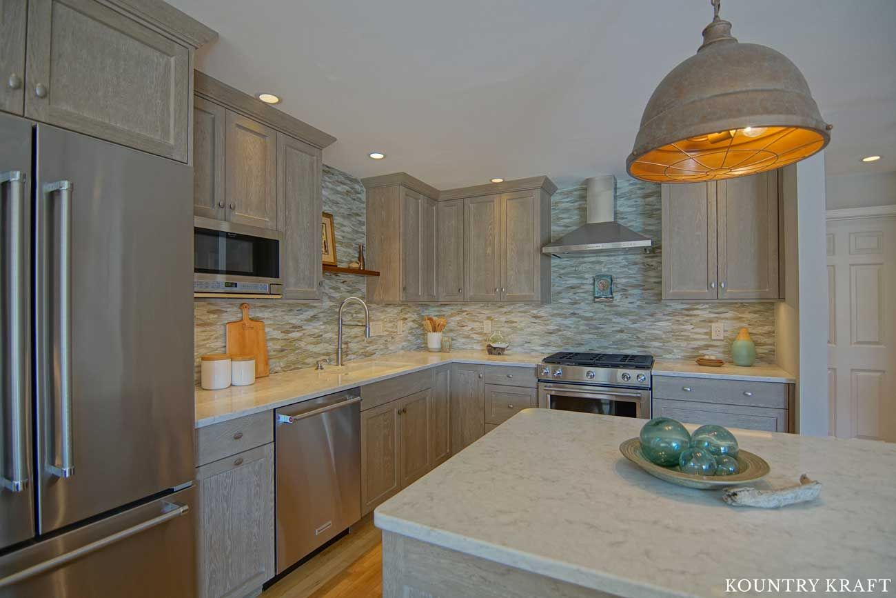 Kountrykraft Weatheredgraincabinets Customcabinetry Custom Kitchen Cabinets Transitional Kitchen Custom Kitchens