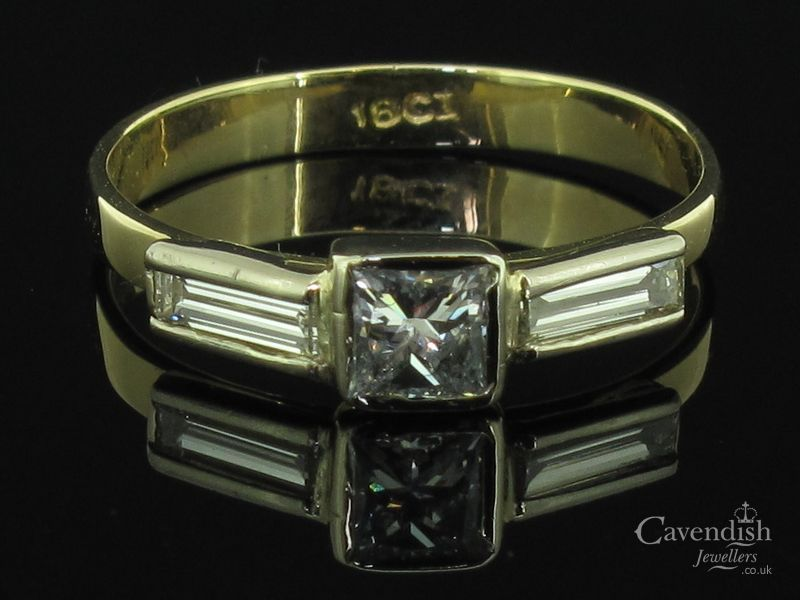 Individual Yellow Gold, Princess & Baguette Cut Diamond Ring Thumbnail 1