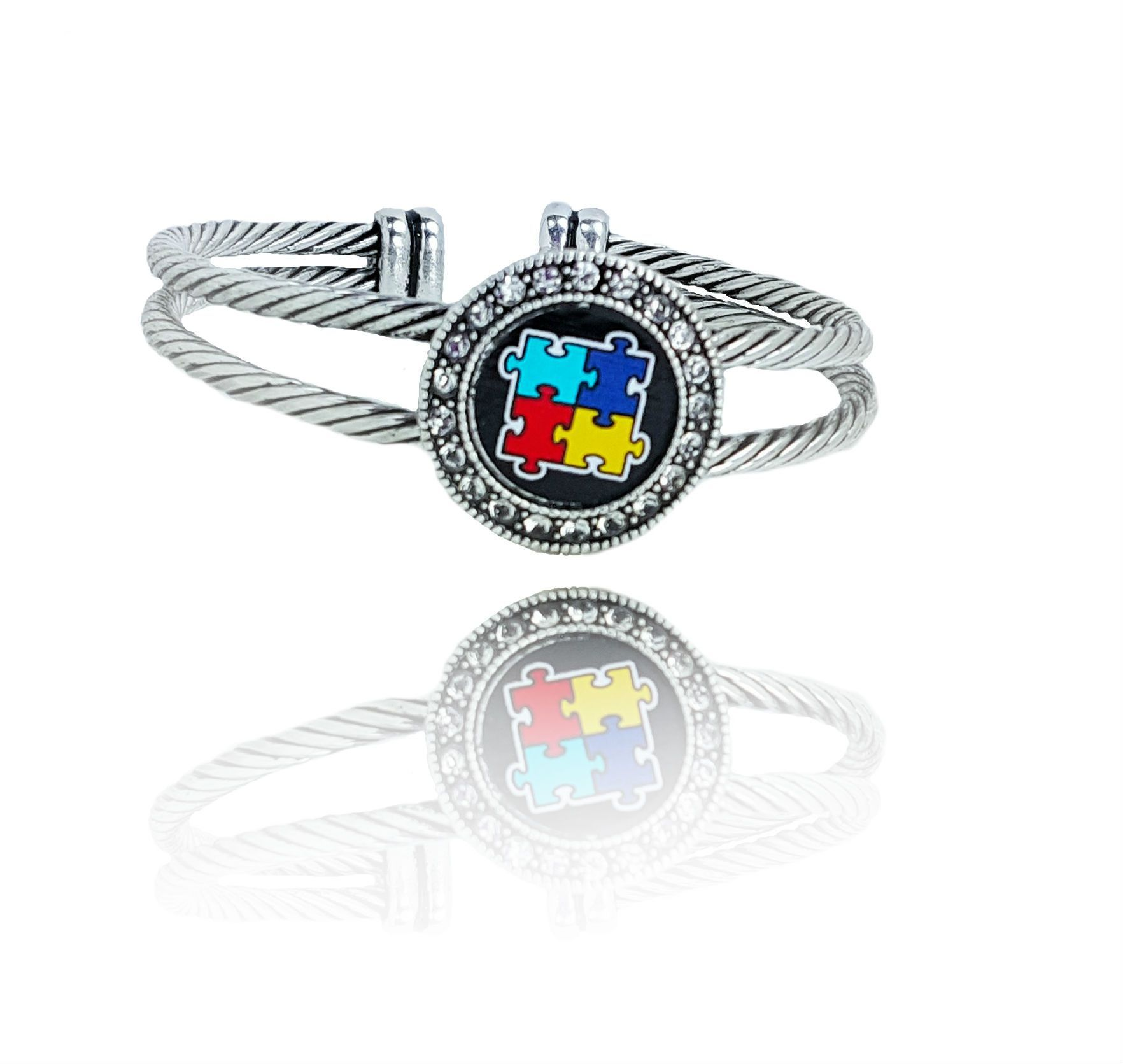 Autism puzzle piece charm silver plated bangle rhinestone crystal autism puzzle piece charm silver plated bangle rhinestone crystal lined autism symbol womens adjustable bangle bracelet buycottarizona Image collections
