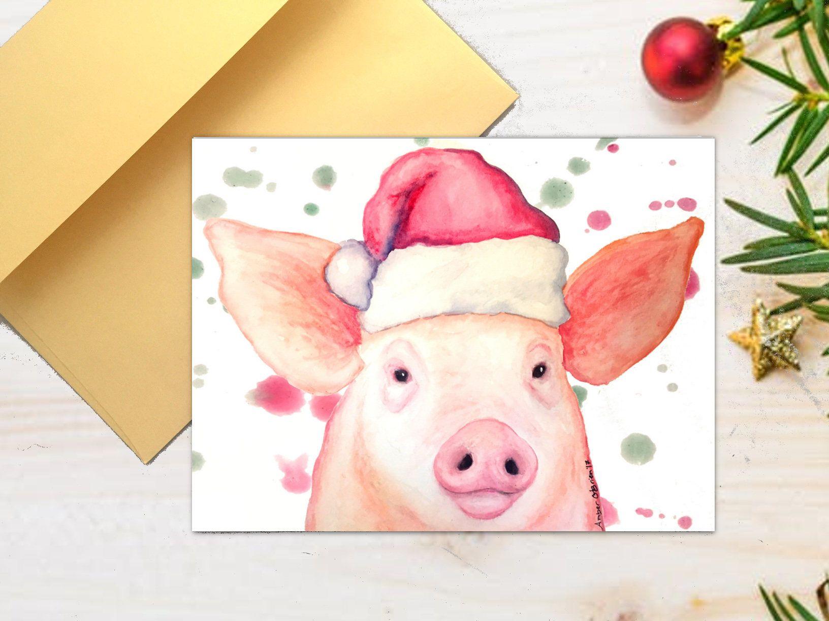 Christmas pig card, Holiday card, Santa hat pig card, pig greeting ...