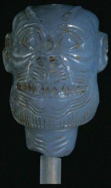 Chalcedony head of the demon Pazuzu. Near Eastern ...