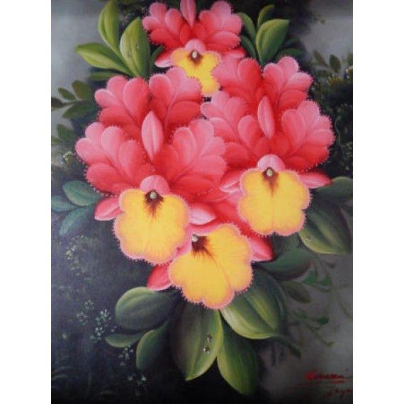 Lukisan Objek Motif Bunga Warna Merah Dimensi 80x60 Cm Bahan