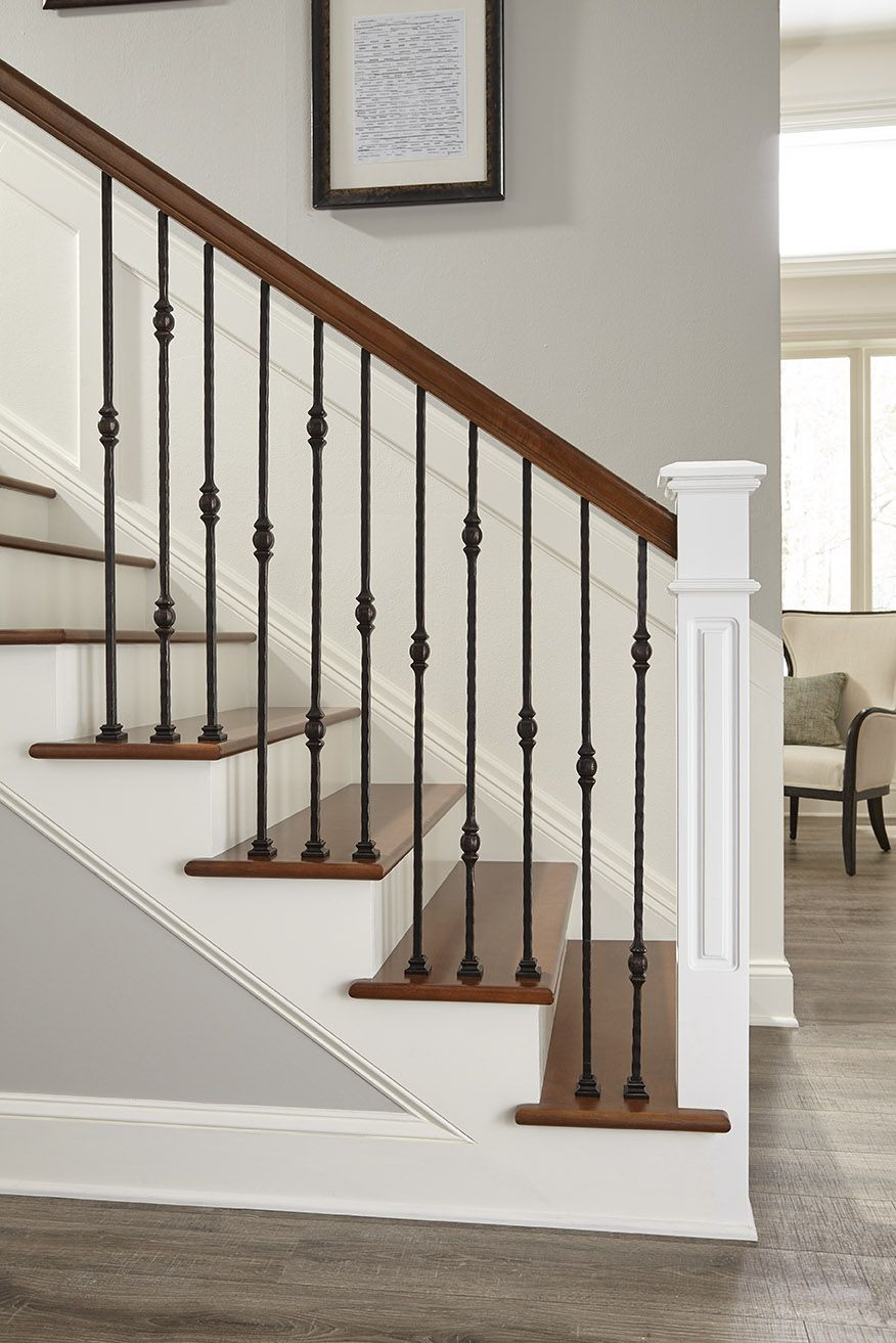 Florence Collection In Crown Heritage Forged Iron Stair Railing | Heritage Stair And Railing | Stainless Steel | Balcony Railing Design | Indoor Stair | Interior Stair | London Ontario