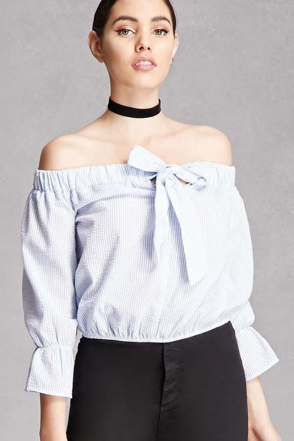 daa207710d7c0 Forever 21 Tie Front Off-the-Shoulder Top