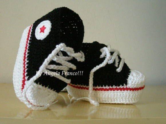 All Star baby Crochê preto/vermelho   Ateliê Angela Franco!!   Elo7