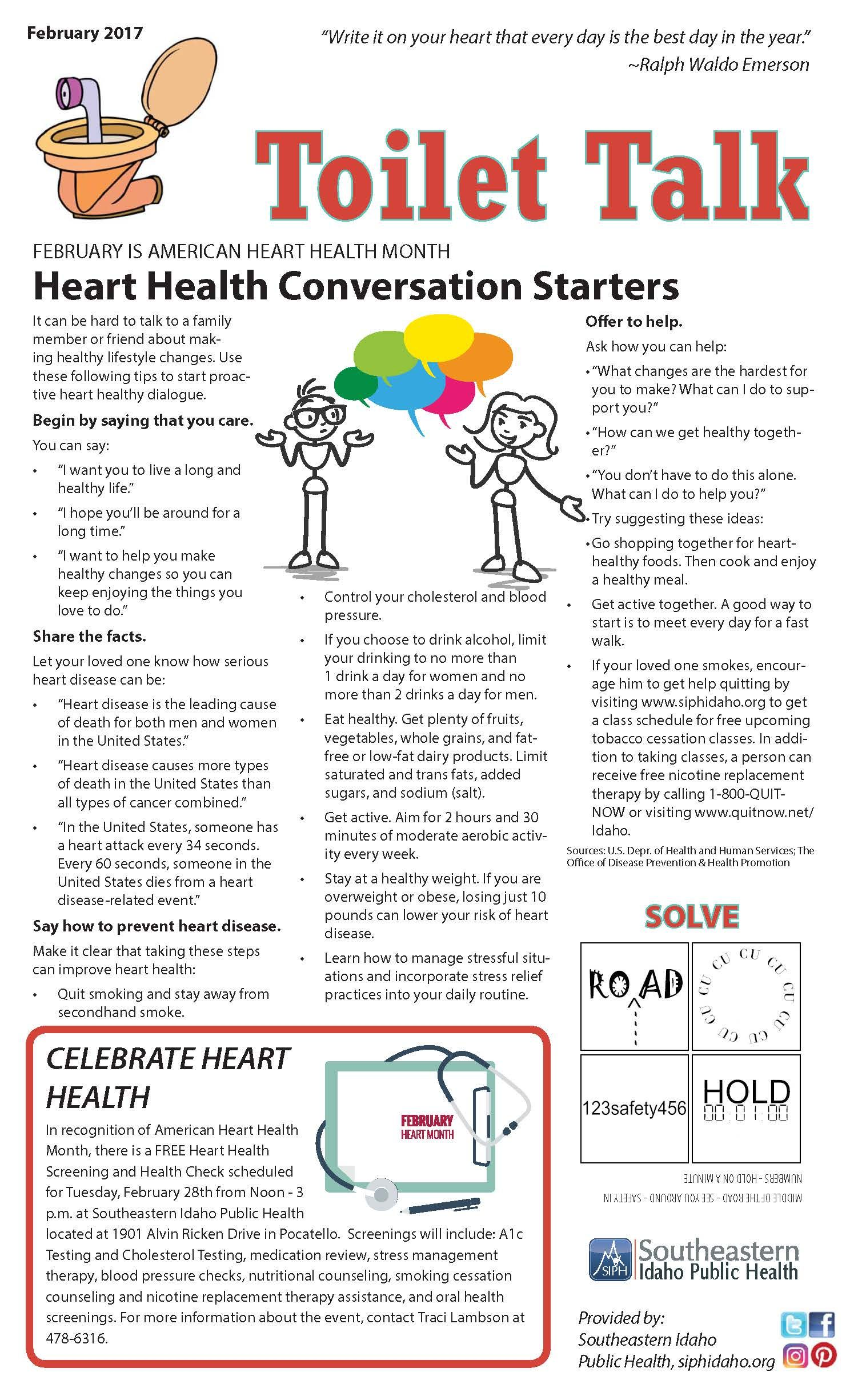 Heart Health Conversation Starters | Toilet Talk | Pinterest ...