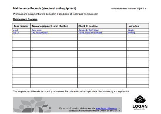 Equipment Maintenance Log Template: 20+ Free Templates in Word, PDF