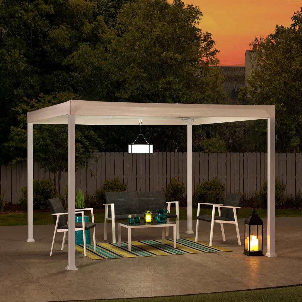 Sunjoy Melville 10 Ft X 10 Ft Modern White Steel Gazebo With White Flat Top Canopy A106005700 The Home Depot In 2020 Grill Gazebo Patio Gazebo Steel Gazebo