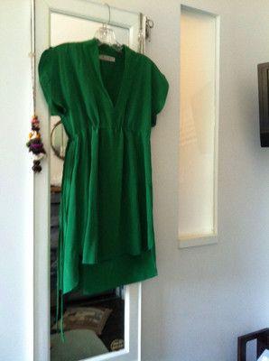 Bright Green Silk Geren Ford mini-Dress/Tunic. HI-LO Hem XS