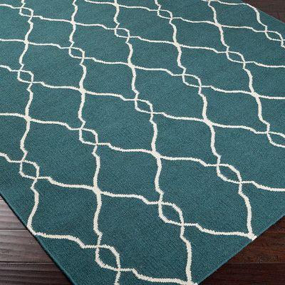 Jill Rosenwald Rugs Fallon Turquoise/Ivory Area Rug & Reviews | Wayfair
