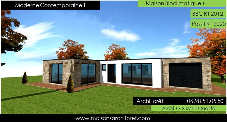 Plan et photo maison plain pied en l ou plein pied en rez for Architecte maison moderne