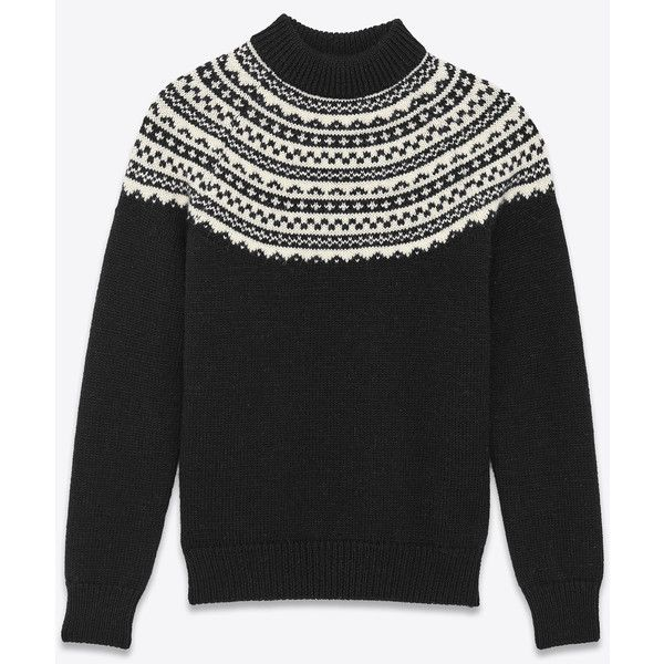 Saint Laurent Classic Fair Isle Mock Turtleneck Sweater ($725 ...