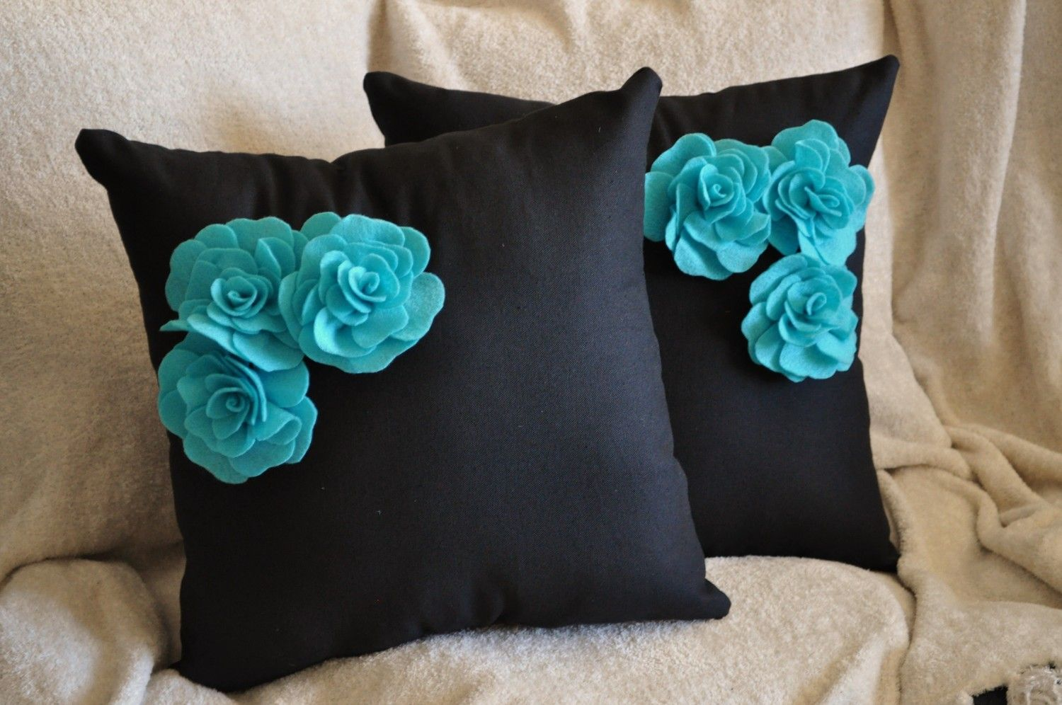 Decorative Pillow Trio : Two Decorative Pillows - Turquoise Felt Rose Trio on Black Pillows 14